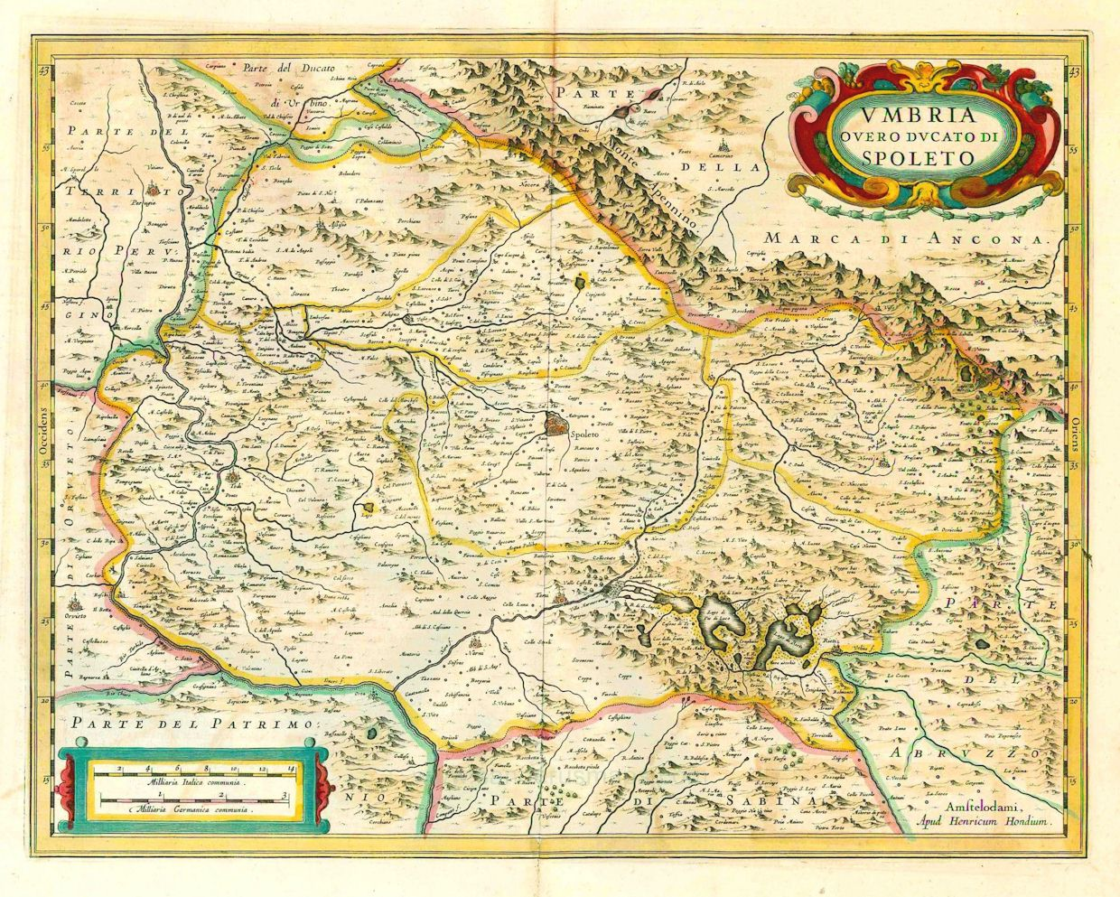 Antique map of Umbria